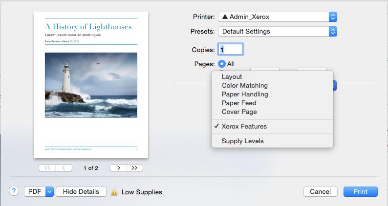 Xerox Features